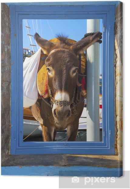 Leinwandbild Blick auf einen Esel posiert warf einen Fensterrahmen in Santorini islan - Europäische Städte