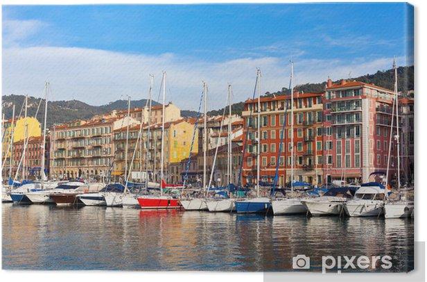 Leinwandbild Blick auf Hafen von Nizza, Französisch Riviera, Frankreich - Europa