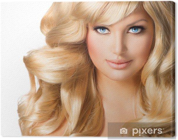 Leinwandbild Blonde Frau Portrait Schöne Mädchen Mit Langen Blonden Haaren
