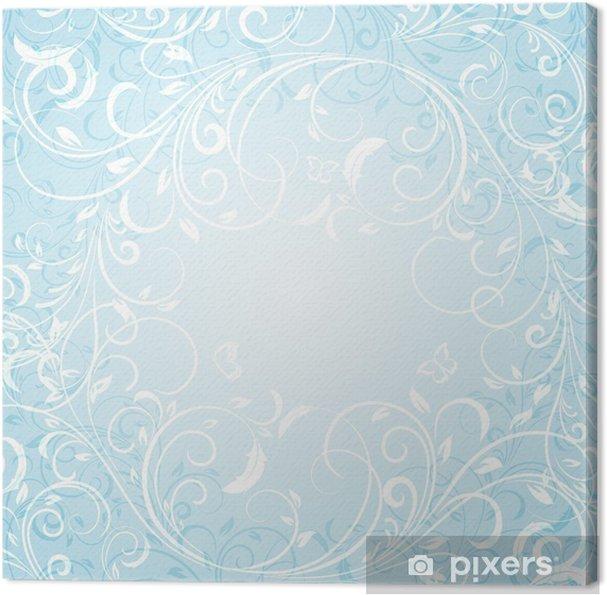 Leinwandbild Blue Floral Background - Hintergründe