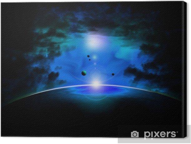 Leinwandbild Blue space nebula - Weltall