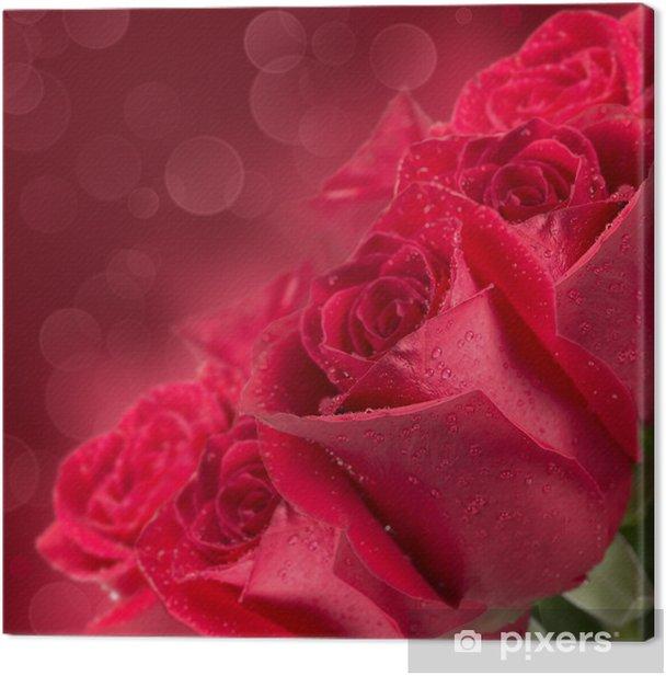 Leinwandbild Blühende rote Rosen - Blumen
