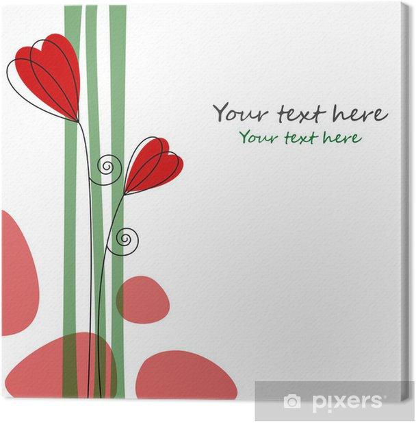 Leinwandbild Blumen und Herzen in Rot - Fröhlichkeit