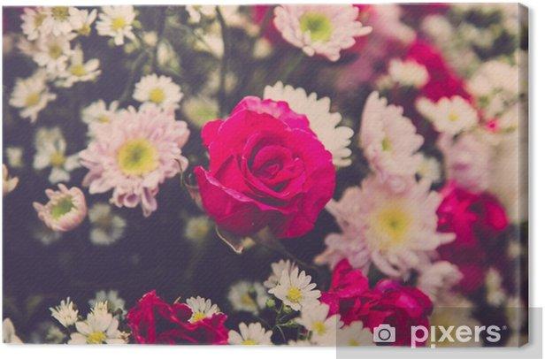 Leinwandbild Blumenstrauß der Hochzeit Rosen blühen. Retro-Filter - Pflanzen und Blumen