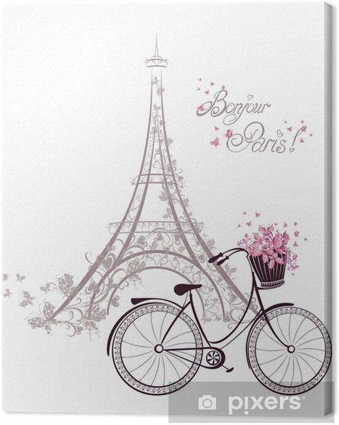 Leinwandbild Bonjour Paris Text mit Eiffelturm und Fahrrad -