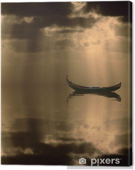 Leinwandbild Boot bei Sonnenuntergang - Wasser