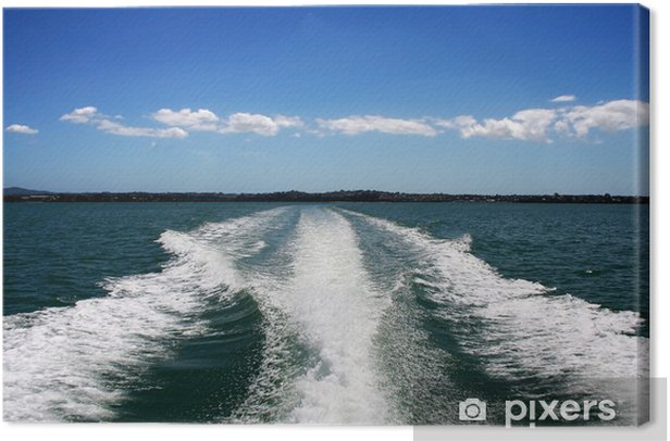 Leinwandbild Boot Wake on Green Ocean - Boote