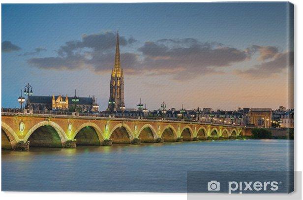Leinwandbild Bordeaux - Steinerne Brücke und die Basilika von Saint-Michel - Themen