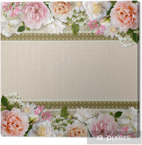 Leinwandbild Border von Blumen mit der Spitze auf Vintage-Hintergrund - Fröhlichkeit
