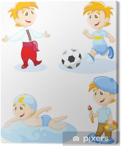 Leinwandbild Boy Tanzen Schwimmen Zeichnen Fussball Spielen