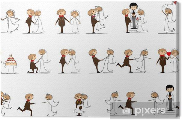 Leinwandbild Braut und Bräutigam bei der Hochzeit, Vektor - Paare