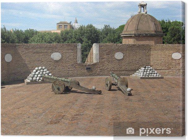 Leinwandbild Bronze-Kanonen und Kanonenkugeln Marmor zur Engelsburg - Urlaub
