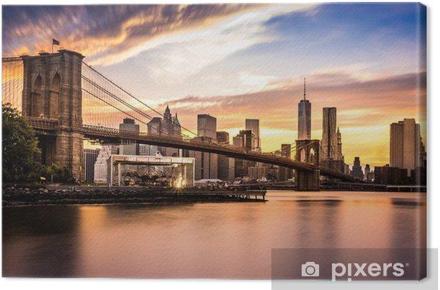 Leinwandbild Brooklyn-Brücke bei Sonnenuntergang - Themen