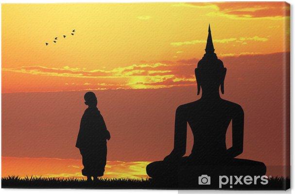 Leinwandbild Buddha bei Sonnenuntergang - Themen