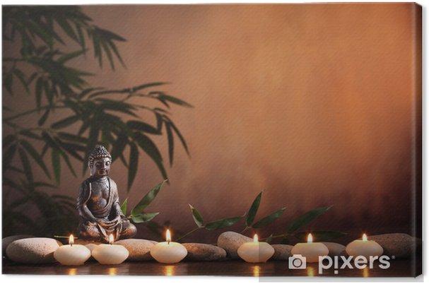 Leinwandbild Buddha mit brennender Kerze und Bambus - Buddhismus