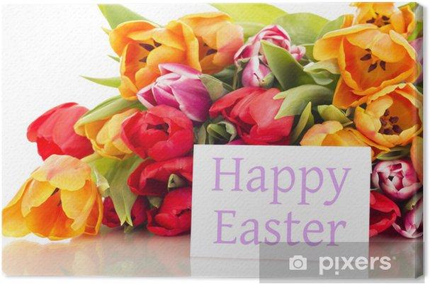 Frohe Ostern Karte.Leinwandbild Bundel Tulpen Mit Karte Frohe Ostern
