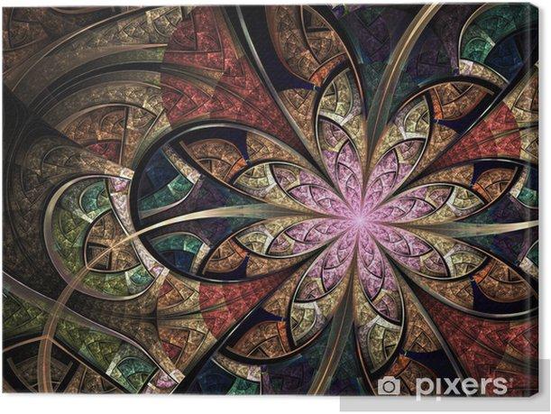 Leinwandbild Bunte Blumen Glasmalerei, digitale Fractal-Kunst-Abbildung - Hintergründe