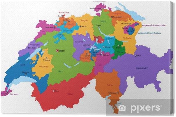 Usa Staaten Karte Mit Hauptstädten.Leinwandbild Bunte Karte Schweiz Mit Den Staaten Und Hauptstädte