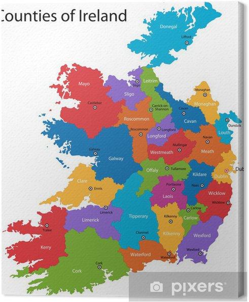 Irland Karte.Leinwandbild Bunte Republik Irland Karte Mit Den Regionen