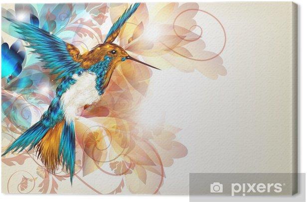 Leinwandbild Bunte Vektor-Design mit realistischen Kolibri und Blumen o -