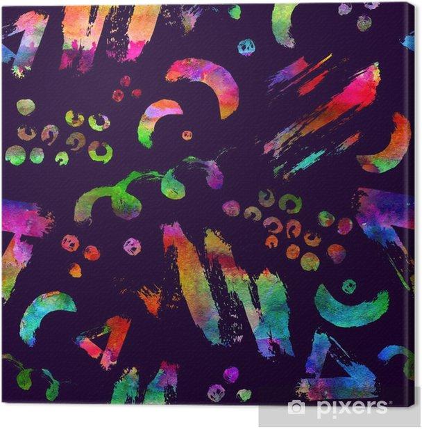 Leinwandbild Buntes nahtloses Muster mit Bürstenanschlägen und Punkten. Regenbogenaquarellfarbe auf violettem Hintergrund. handgemalte grange textur. Tinte geometrische Elemente. Mode modernen Stil. ungewöhnlich - Grafische Elemente