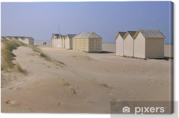 Leinwandbild Cabines de plage à Ouistreham en Normandie en france - Urlaub
