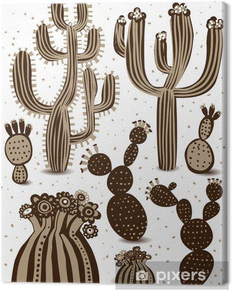 Leinwandbild Cactus set - Blumen