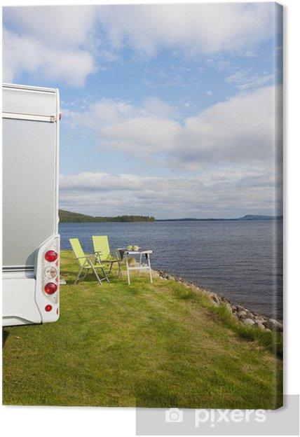 Leinwandbild Camping am See - Straßenverkehr