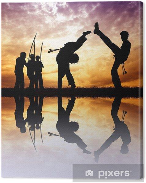 Leinwandbild Capoeira bei Sonnenuntergang - Themen
