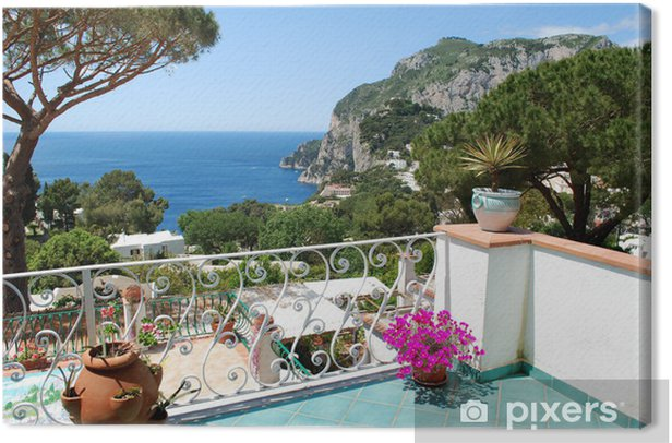 Leinwandbild Capri, Blick vom Balkon - Europa