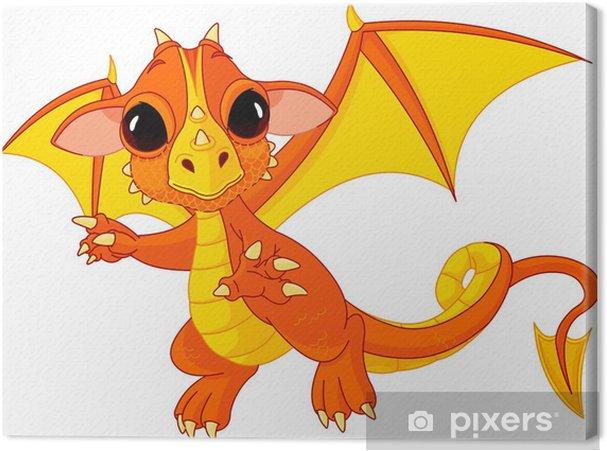 Leinwandbild Cartoon Baby-Drachen - Wandtattoo