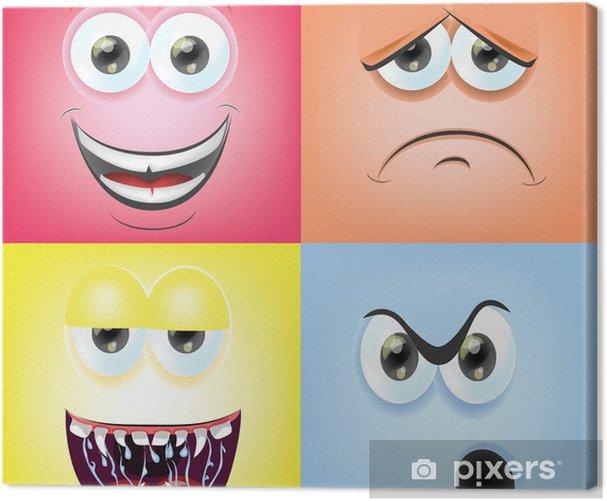 Leinwandbild Cartoon Gesichter mit Emotionen - Fröhlichkeit