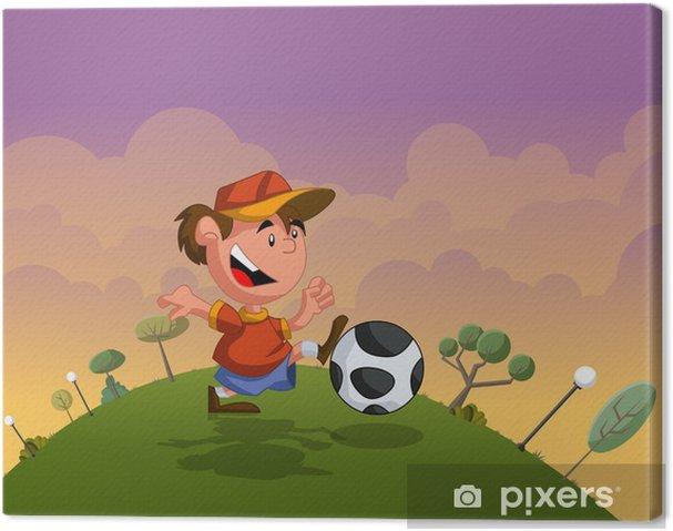 Leinwandbild Cartoon Junge Spielt Mit Fussball Auf Grunem Park