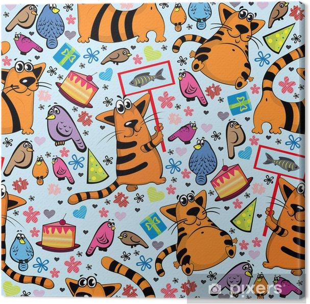 Leinwandbild Cartoon-Muster mit Katzen und Vögeln - Säugetiere