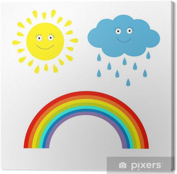 leinwandbild cartoon sonne wolke mit regen und regenbogen