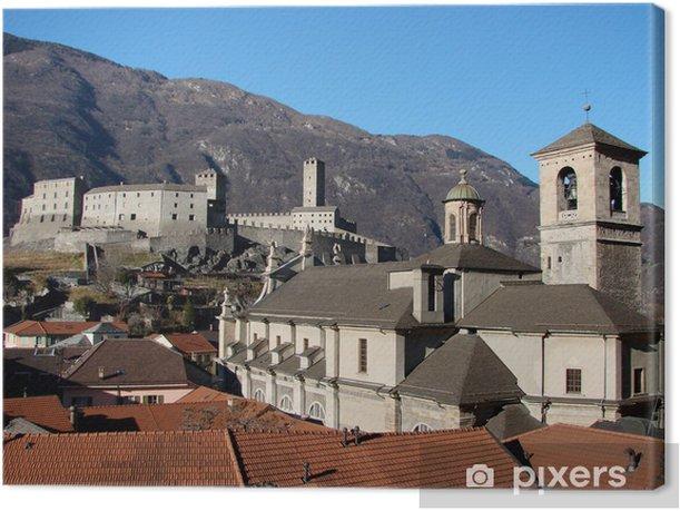 Leinwandbild Castelgrande und die Kathedrale in Bellinzona, Schweiz - Denkmäler