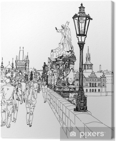Leinwandbild Charles Bridge - Prag, Tschechische Republik - ein Vektor-Skizze - Prag