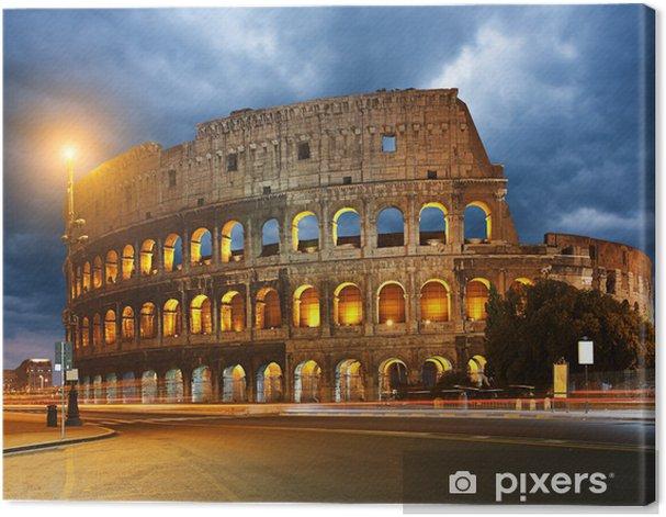 Leinwandbild Colosseum und Ampeln in der Nacht in Rom, Italien - Themen