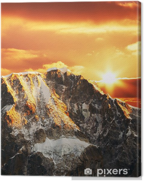Leinwandbild Cordilleras Berg auf Sonnenuntergang - Berge