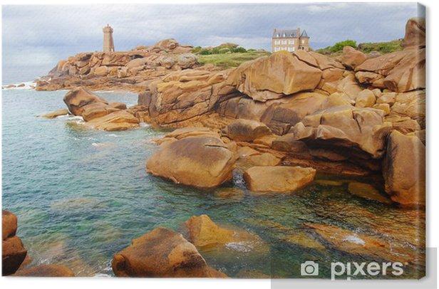 Leinwandbild Côte de Granit Rose. Bretagne, Frankreich - Wasser