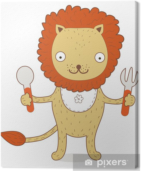 Leinwandbild Cute Lion Cub will etwas gereizt zu essen - Säugetiere