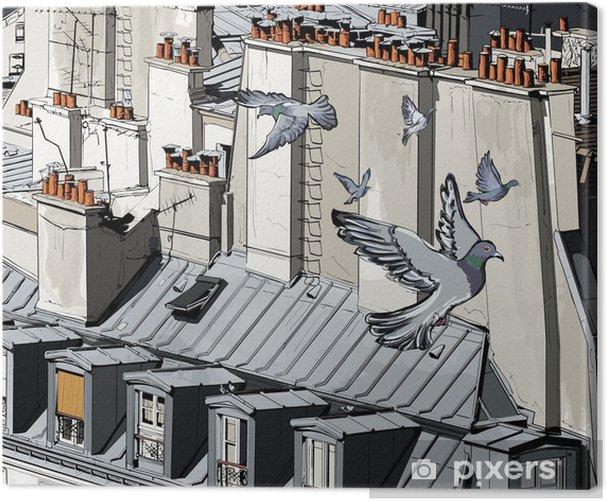 Leinwandbild Dächer in Paris - Themen