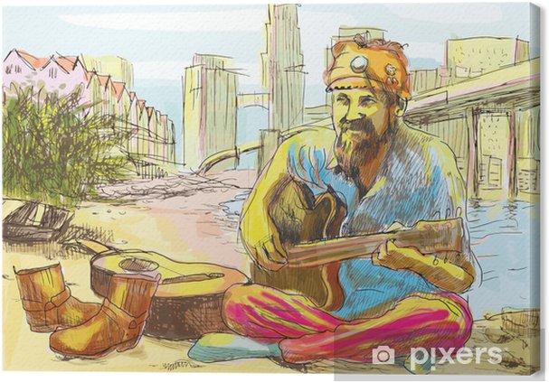 Leinwandbild Der bärtige Hippie Mann an der Gitarre (Zeichnung in Vektor) - Musik