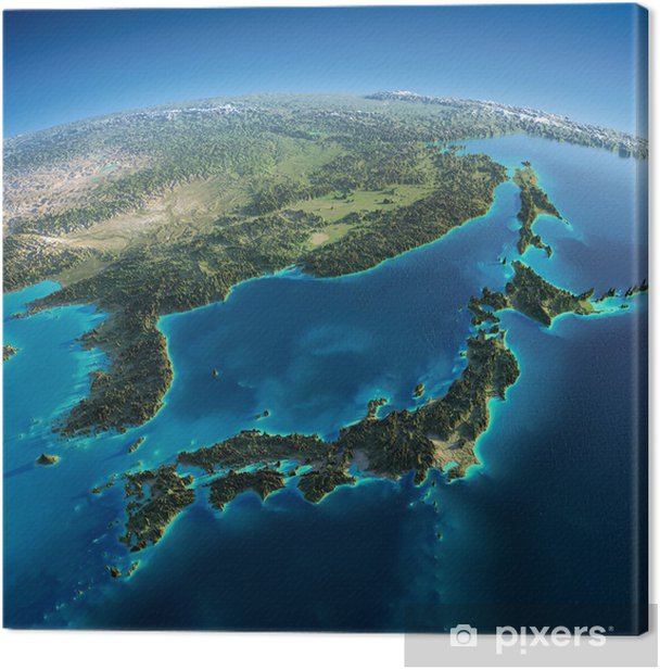 Leinwandbild Detaillierte Erde. Japan und Korea - Erde