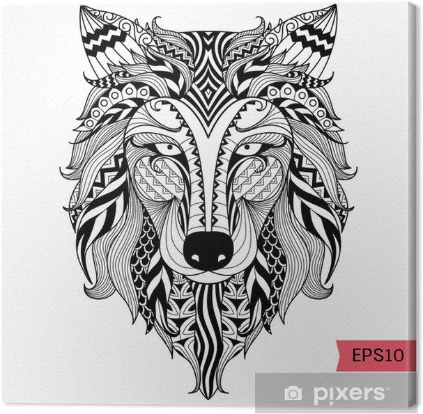 Leinwandbild Details Zentangle Wolf Fur Malvorlagen Tatowierung