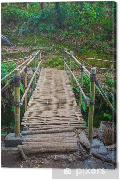 Leinwandbild Die Bambus-Brücke in regen forrest - Wasser