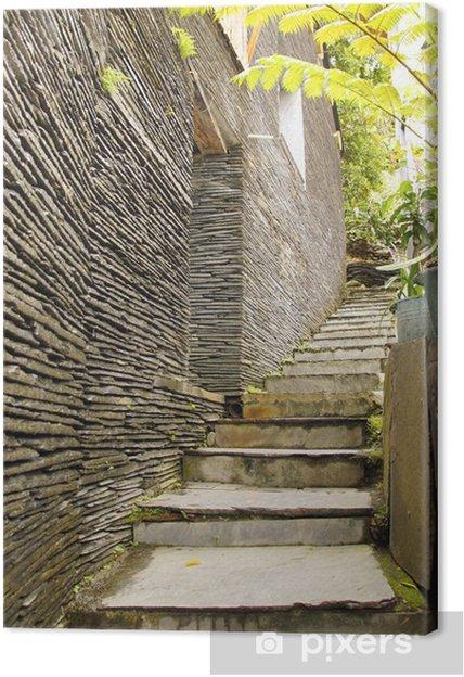 Leinwandbild Die Dekoration der Gasse Treppe von Stein