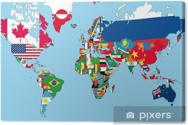 Die Welt Karte.Leinwandbild Die Weltkarte