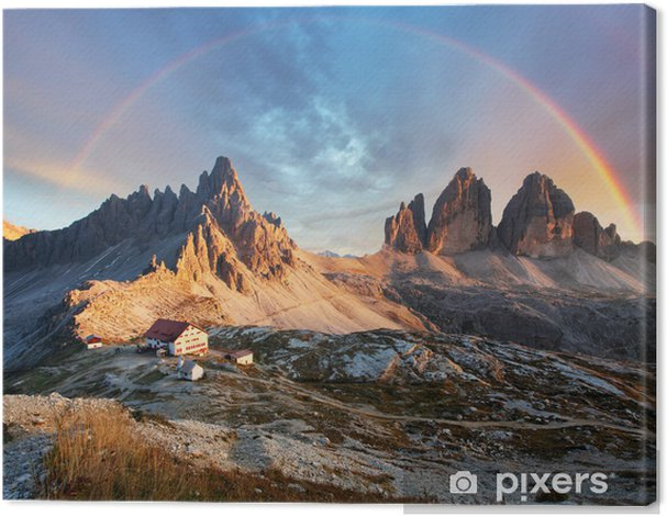 Leinwandbild Dolomiten in Italien bei Sonnenuntergang - Drei Zinnen - Regenbogen