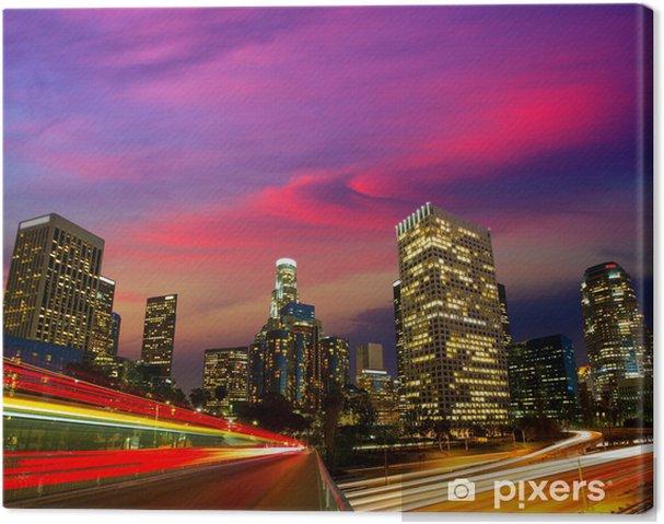 Leinwandbild Downtown LA Los Angeles Nacht sunset Skyline Kalifornien - Themen